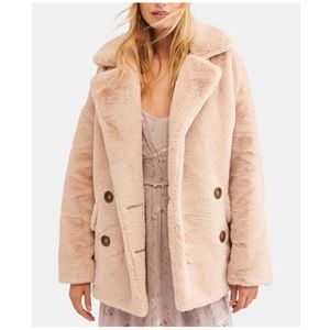 Free People Kate Faux-Fur Double Breasted Jacket